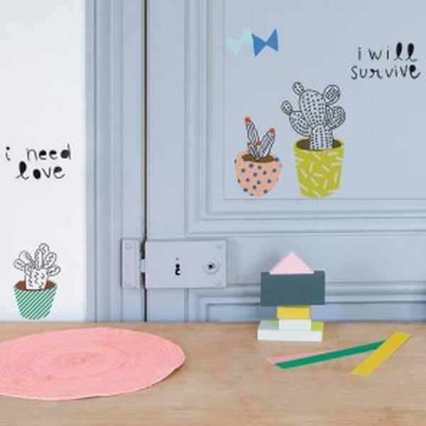 Kakteen-Sticker für die Wand