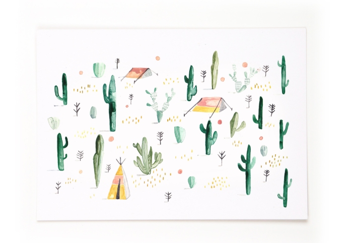 Kaktus-Muster: Postkarte Greats Schwester