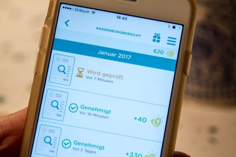 Kassenbon-Übersicht in der Pampers App mit Bonus-Punkte