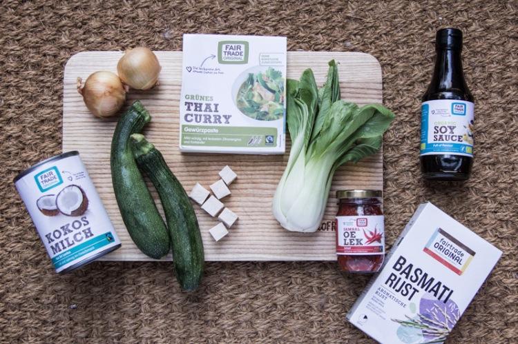 Grünes Thaicurry mit Produkten von Fair Trade Originals
