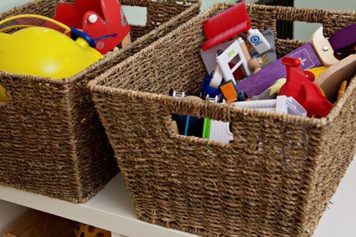 Kinderzimmer Makeover mit Wayfair: Aufbewahrungskörbe aus Sisal mit Spielzeug